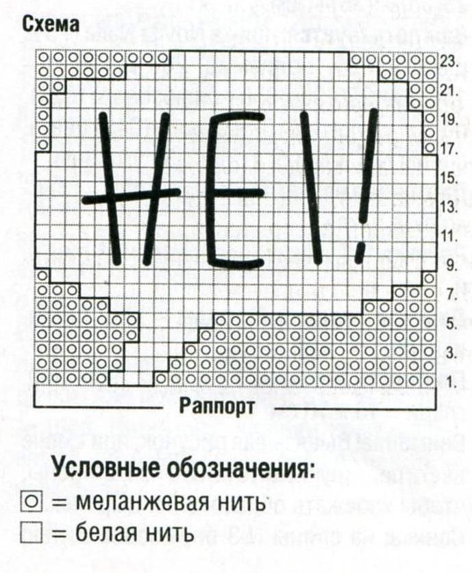 Шапка с рисунком вязаная спицами схема