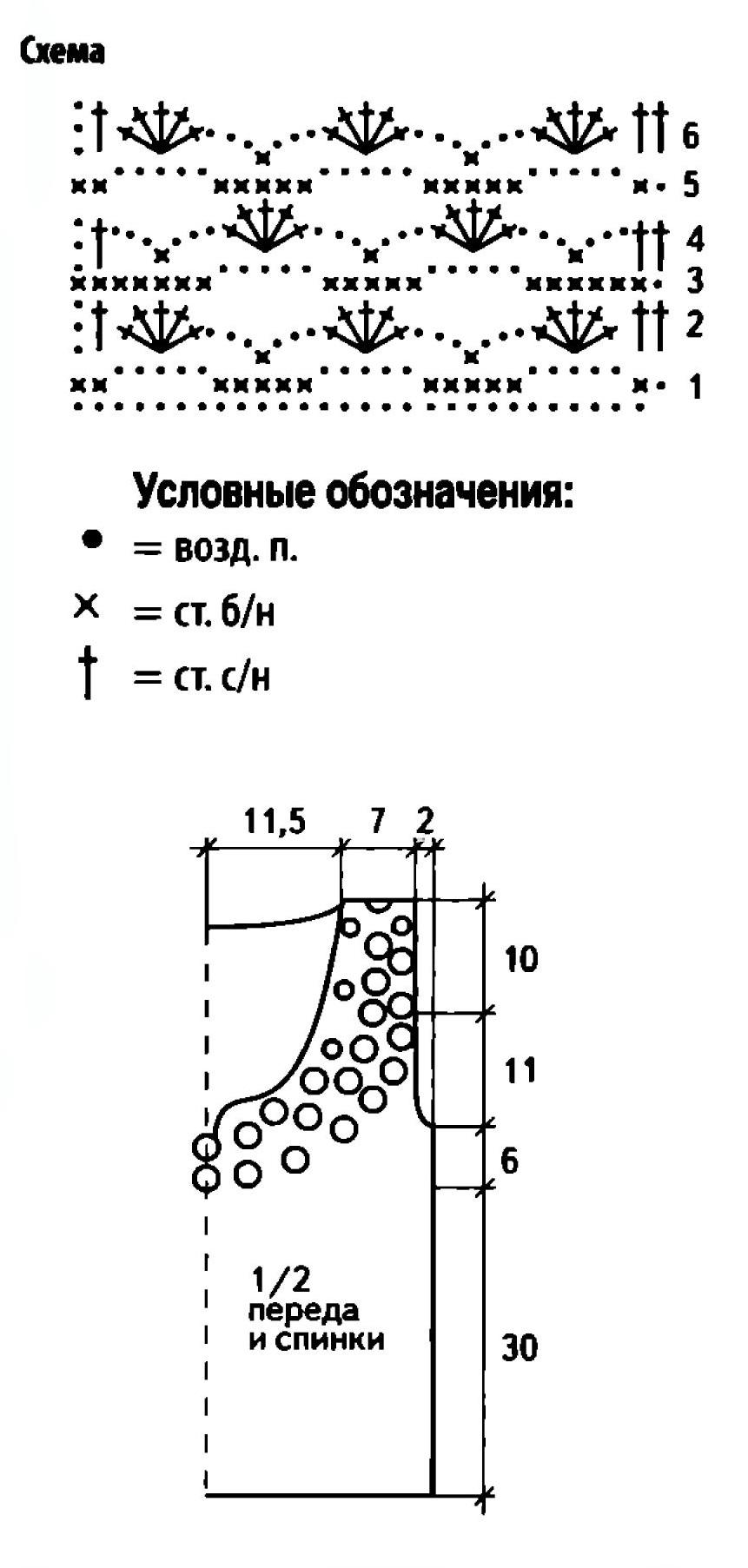 Жёлтый топ вязаный крючком схема