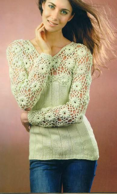 Комбинированный пуловер вязаный спицами и крючком