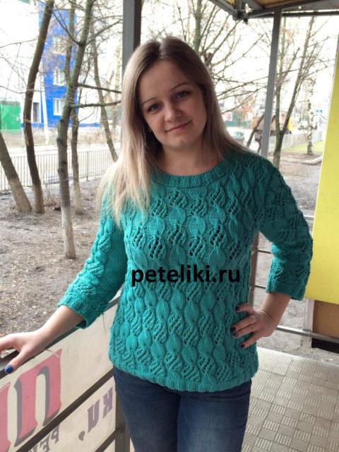 Женский пуловер Морская волна