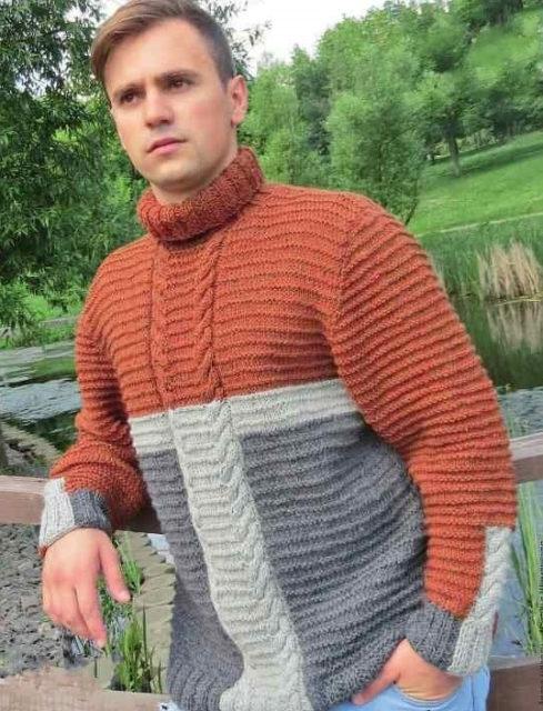 Мужской свитер вязаный спицами «Интересное решение» спицами