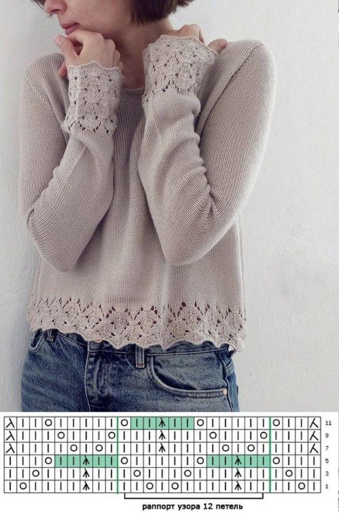 Кайма для свитера лицевой гладью